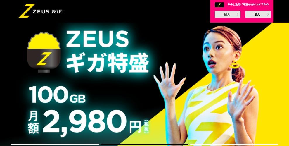 zeuswifiは100GB2980円
