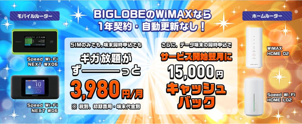 BIGLOBE WiMAX 2+「1年契約がうれしい」